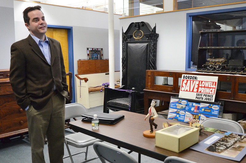 Description of . Ryan Owen, the new Lowell Historical Society curator, speaks about some unusual items he has been finding in the museum's collection. (SUN/Ashley Green)
