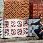 Lowell Cultural Affairs and Special Events office had local artists paint some of the security blocks and jersey barriers needed for the Lowell Folk Festival. Floral patterns by Mary Hart an ...