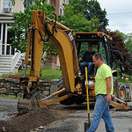 NASHOBA VALLEY VOICE/ANNE O'CONNOR High Street is getting redone with new drainage and sidewalks. As part of the project, some driveways will be regraded and mailboxes installed on utility p ...