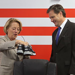 U.S. Rep. Niki Tsongas and U.S. Rep. Mike Turner (R-OH10) visit the New Balance factory in Lawrence in 2014. Turner received this pair of 993 men's running shoes in Air Force colors, customi ...