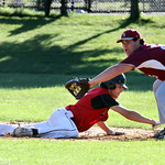 Lowell vs Tyngsboro Northeast League baseball. Tyngsboro's Jacob Carney (6) dives back safely to first as Lowell first baseman Brian Callery (25) fields the throw. (SUN/Julia Malakie)