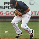 Lowell Spinners vs Tri-City ValleyCats baseball. Spinners shortstop Frankie Rios (15) bobbles a ground ball in the top of the fifth inning. (SUN/Julia Malakie)