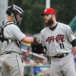 Lowell Spinners vs Tri-City ValleyCats baseball. Astros' Dallas Keuchel pitching in rehab start for ValleyCats, with ValleyCats catcher Michael Papierski (9). (SUN/Julia Malakie)