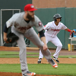 Lowell Spinners vs Tri-City ValleyCats baseball. Astros' Dallas Keuchel pitching in rehab start for ValleyCats. Spinners' Frankie Rios (15), who was hit by a pitch by pitcher Dallas Keuchel, ...