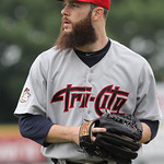 Lowell Spinners vs Tri-City ValleyCats baseball. Astros' Dallas Keuchel, pitching in rehab start for ValleyCats, heads back to the dugout after the top of the third inning. (SUN/Julia Malaki ...